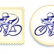 Cyclist on Stamp and Button Set — Stock Vector