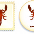 Scorpion stamp and button — Stock Vector