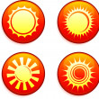 Sun Icons on Internet Buttons — Stock Vector
