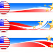 Stock Vector: American Flag Button with Banners