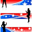 Musical Band with Patriotic Banners — Stock Vector #6031522