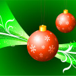 Red Christmas Ornaments on Green Background — Stock Vector
