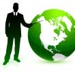 Green globe business background - Stock Vector