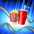 Popcorn and Soda on Film Strip Background - Image vectorielle