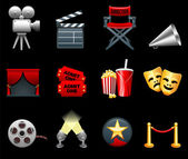 Film and movies industry icon collection — Stock Vector