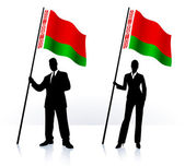 Business silhouettes with waving flag of Belarus — Stock Vector