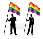 Business silhouettes with waving flag of Gay Pride — Stock Vector