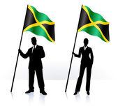Biznes sylwetki machać flaga Jamajki — Wektor stockowy