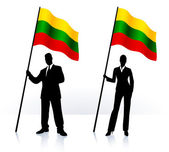 Business silhouettes with waving flag of Lithuania — Stock Vector