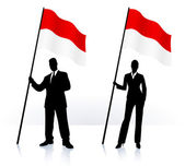 Business silhouettes with waving flag of Monaco — Stock Vector
