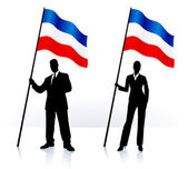 Business silhouettes with waving flag of serbia and montenegro — Stock Vector