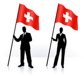 Business silhouettes with waving flag of switzerland — Stock Vector