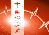 Medical Symbol Icons on red wire globe background — ストックベクタ
