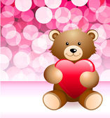 Teddy Bear on Glowing Background — Stock Vector