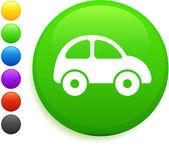 Car icon on round internet button — Stock Vector