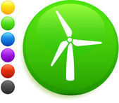 Wind turbine icon on round internet button — Stock Vector