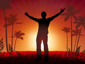 Homme libre sur fond de coucher de soleil — Vecteur