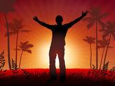 Free man on sunset background — Stock vektor