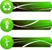 Green Nature Icons on Internet Buttons with Banners — Stock Vector