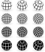 Globe wire frame symbols — Stock Vector