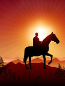 Horse and rider on sunset background — Stock Vector