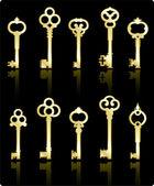 Antique keys collection — Stock Vector