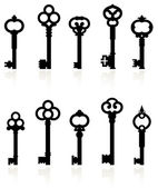 Collection keys antique — Vecteur