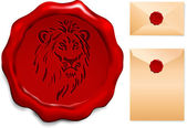 Lion on Wax Seal — Stock Vector
