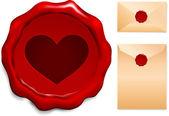 Heart Wax Seal — Stock Vector