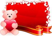 Teddy bear romantic Valentine's Day design background — 图库矢量图片
