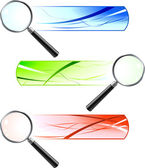 Magnifying Glasses with Banners — Stock Vector