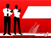 Businessman and businesswoman clapping on red background — Stock Vector