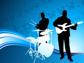 Musical Band on Internet Background — Stock Vector