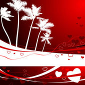Romantic tropical background for valentine's day — Stock Vector