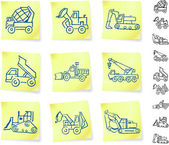 Construction Vehicles on Post It notes — Stok Vektör