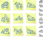 Veículos da construção em post-it notes — Vetorial Stock