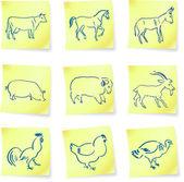 Boerderij dieren collectie op post-it notities — Stockvector