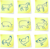 Collection animaux de la ferme sur le poster notes — Vecteur