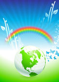 Globe on Rainbow Environmental Conservation Background — Stock Vector