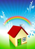 House on Rainbow Environmental Conservation Background — Stock Vector