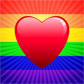 Heart on glowing Gay Pride background — Stock Vector