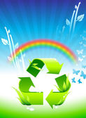 Recycling sign on Rainbow Environmental Conservation Background — Stock Vector