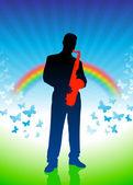 Saxofonista em fundo do arco-íris — Vetor de Stock