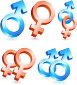 Male and Female Gender Symbols — Vector de stock