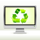 Green recycle symbol on computer screen background — Stock Vector