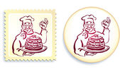 Chef on Button and Stamp Set — Stock Vector