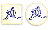 Hockey player on button and stamp Set — Stock Vector