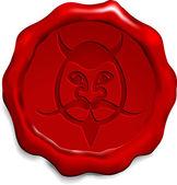 Devil on Wax Seal — Stock Vector
