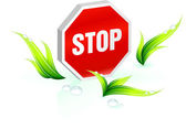 Stop sign Green Environmental Conservation Background — Stock Vector