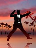Uomo d'affari eccitato sullo sfondo del cielo — Vettoriale Stock